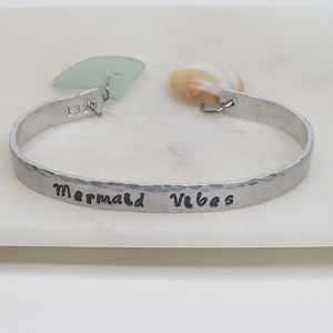 Mermaid Vibes Hand Stamped Adjustable Cuff